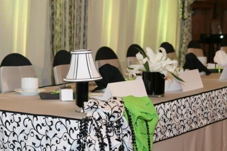 Black And White Scroll Boarder Outlines This Dais Table Seated For 18 Guest    Accented With Lime Green, Mini Lamps, Black Vases Are Filled With  Casablanca ...